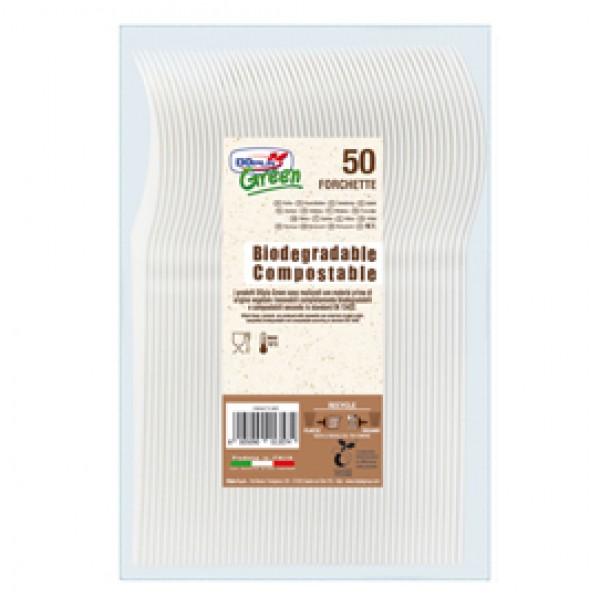 Forchette in Estabio - avorio - Dopla Green - conf. 50 pezzi