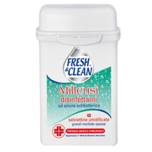 Salviette disinfettanti antibatteriche milleusi - Fresh&Clean - barattolo da 40 pezzi