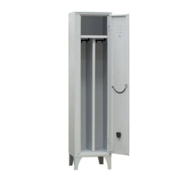 Armadio spogliatoio in metallo - 1 vano - con divisorio - 50 x 50 x 180 cm - grigio - Fasma