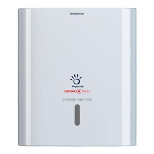 Dispenser antibatterico Defend Tech - per asciugamani piegati a C/V - Papernet