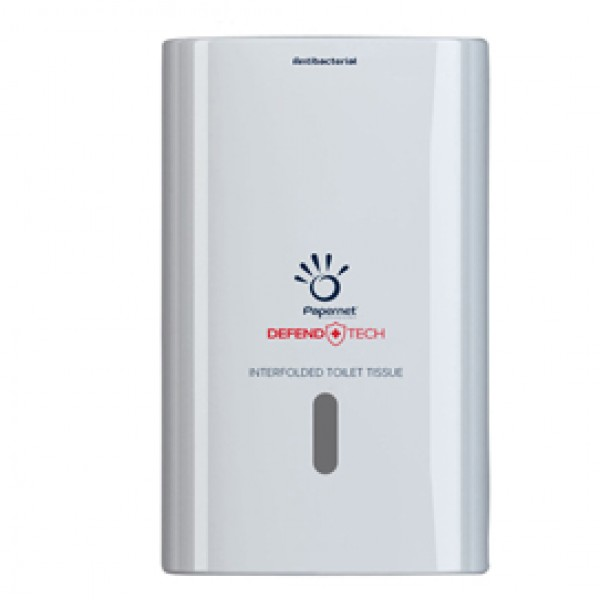 Dispenser antibatterico Defend Tech - per carta igienica interfogliata - Papernet