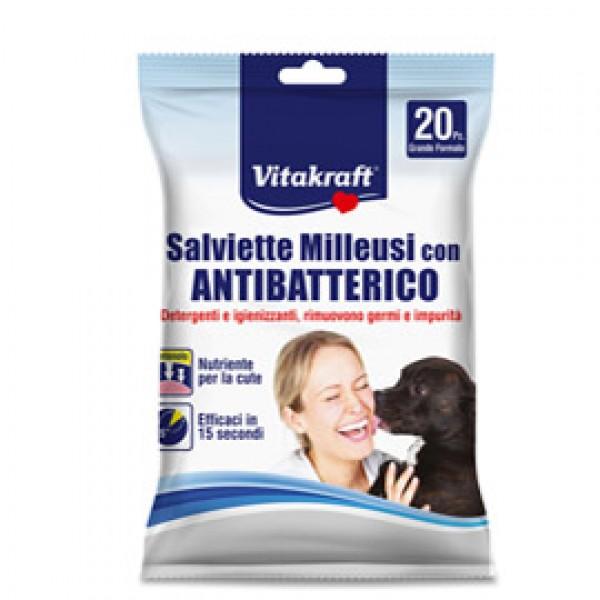 Salviette milleusi con antibatterico per animali (cani, gatti, roditori) - Vitakraft - conf. 20 pezzi