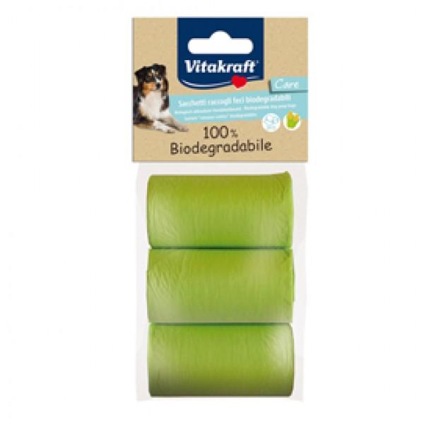 Sacchetti raccoglifeci 100% biodegradabili - Vitakraft - conf. 3 rotoli da 20 sacchetti