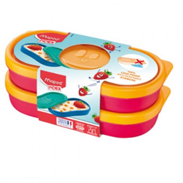 Snack box Picnik Concept - rosa corallo - Maped - set 2 pezzi