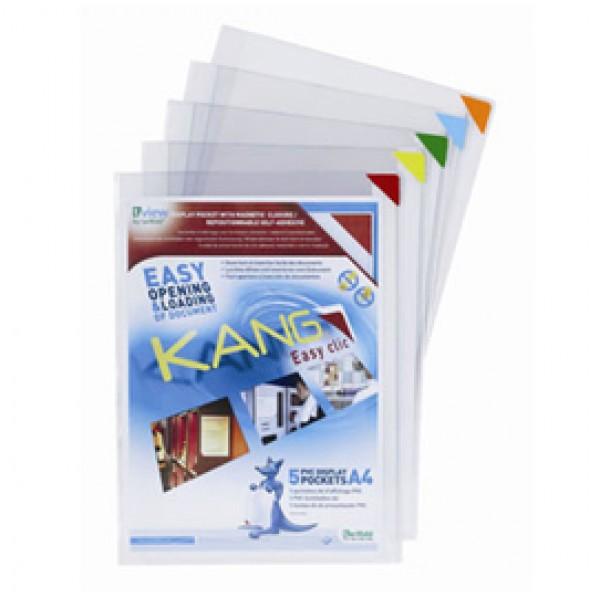 Tasche a L con retro adesivo - A4 - multicolor - Tarifold - conf. 5 pezzi