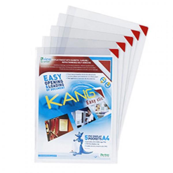 Tasche a L con retro adesivo - A5 - rosso - Tarifold - conf. 5 pezzi