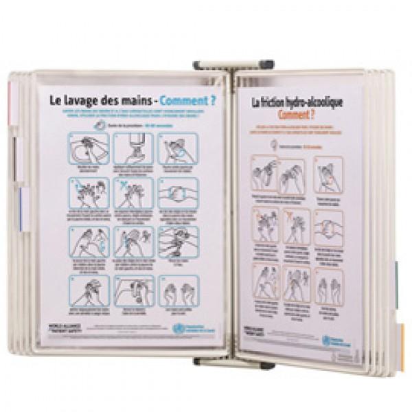 Leggio antibatterico da muro + 10 buste - A4 - bianco - Tarifold