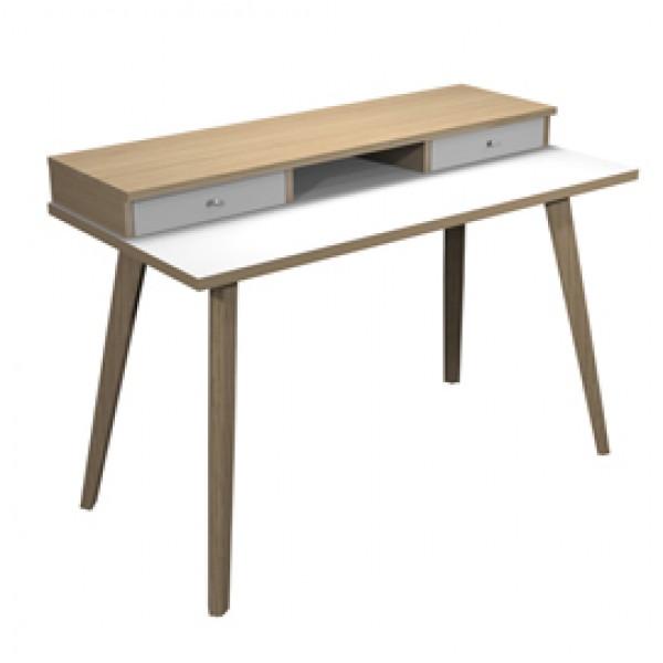 Postazione Home-Office - con sopralzo - gambe in legno -120 x 60 x H 74,4 cm - bianco / rovere - Artexport