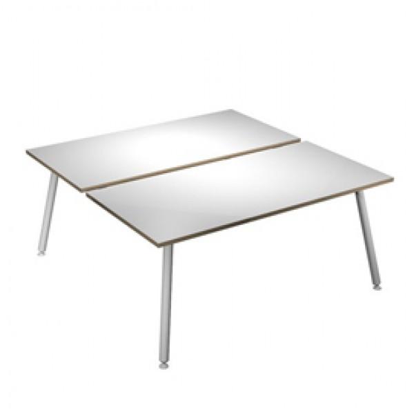 Scrivania Skinny Metal a 2 postazioni contrapp. - 120 x166 cm - bianco - Artexport