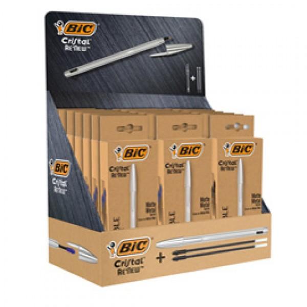 Astuccio penna + 2 refill Cristal®  Re'New - Bic - display 21 pezzi