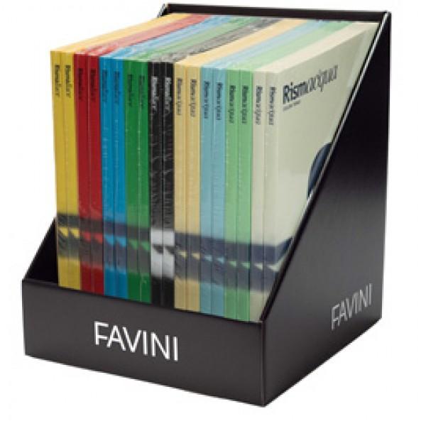 Risma Acqua e Luce - A4 - 200 gr - 50 fogli - colori assortiti - Favini - expo da banco 18 pezzi