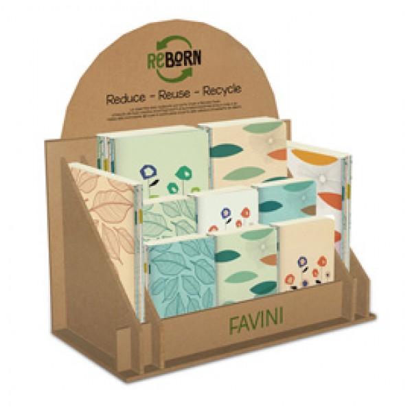 Notebook Reborn - carta riciclata - rilegati - formati assortiti - Favini - display 50 pezzi