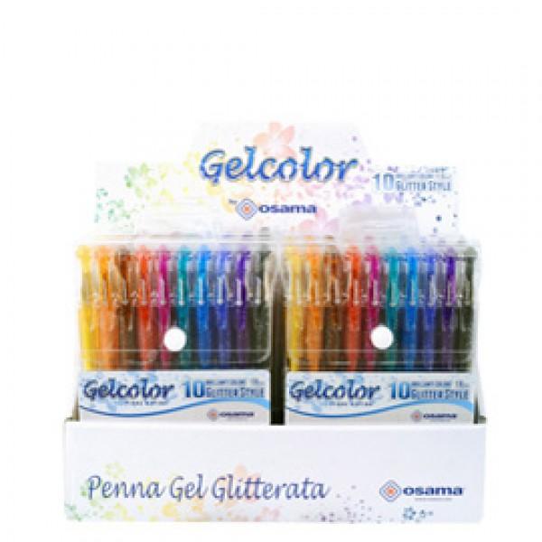 Penna gel Gelcolor - colori assortiti glitter - Osama - expo 12 astucci (10 pezzi cad.)