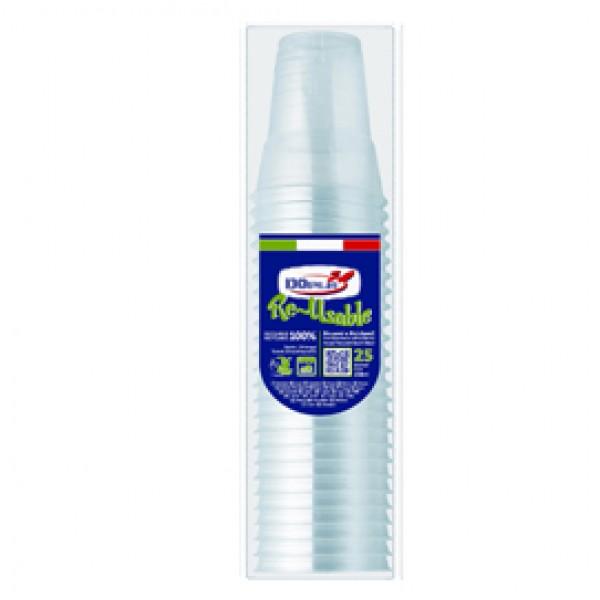 Bicchieri Diamant - riutilizzabili - polistirene - 250 ml - Dopla - conf. 25 pezzi