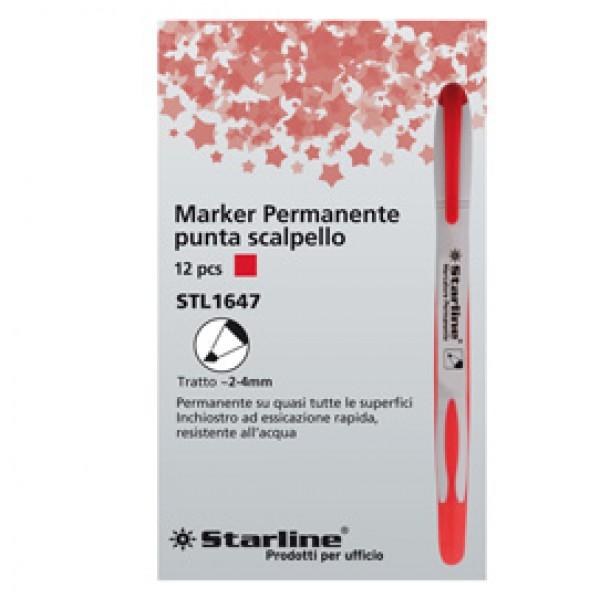 Marcatore permanente Starline - punta a scalpello da 2,00-4,00mm - rosso - Starline