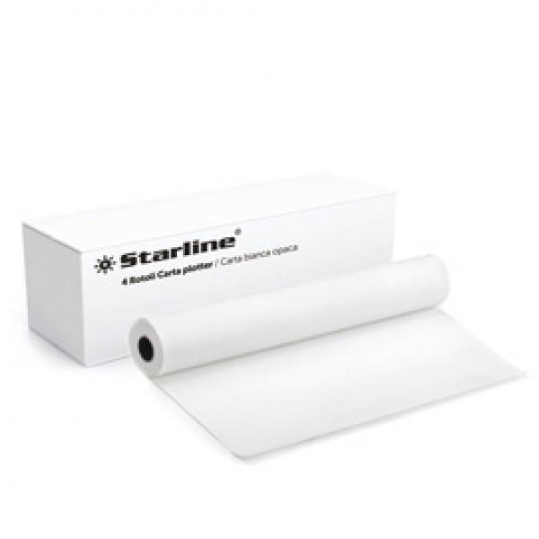 Carta plotter - stampa inkjet - 914 mm x 50 mt - 90 gr - opaca - bianco - Starline