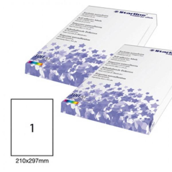 Etichetta adesiva - permanente - 210x297 mm - 1 etichetta per foglio - bianco - Starline - conf. 100 fogli A4