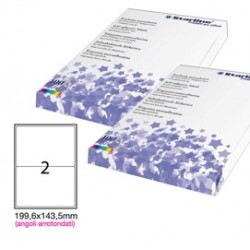 Etichetta adesiva bianca 100fg A4 199,6x143,5mm (2et/fg) angoli tondi STARLINE - STL3055