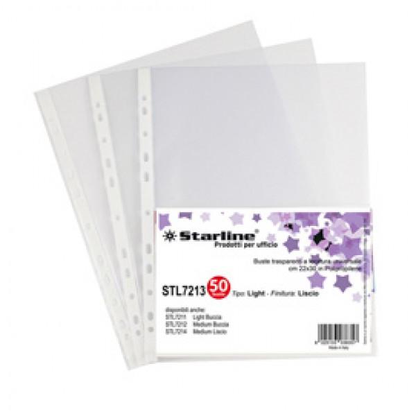Buste forate Light - liscio - 22 x 30 cm - trasparente - Starline - conf. 50 pezzi