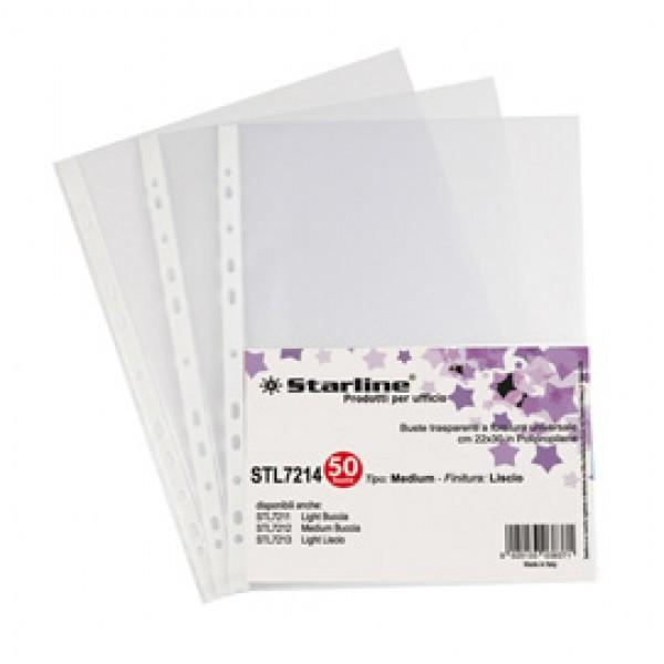 Buste forate Medium - liscio - 22 x 30 cm - trasparente - Starline - conf. 50 pezzi