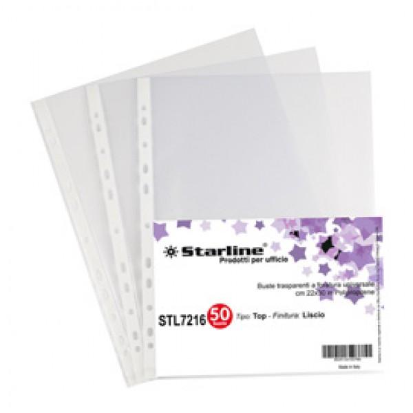 Buste forate Top - liscio - 22 x 30 cm - trasparente - Starline - conf. 50 pezzi