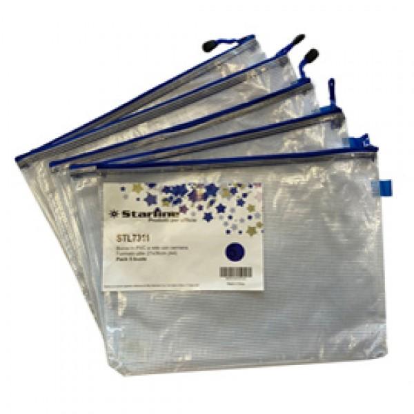 Busta a rete con cerniera verde - PVC - 27x36 cm - trasparente - Starline