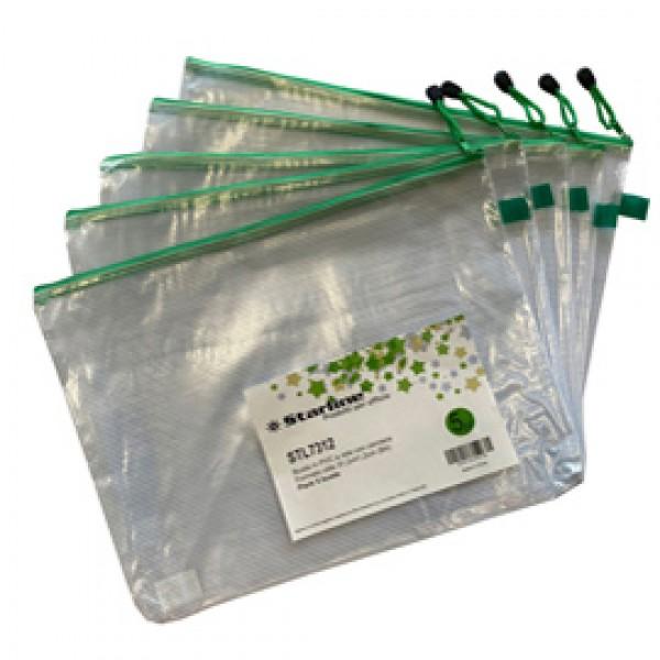 Busta a rete con cerniera verde - PVC - 31,2x41,2 cm - trasparente - Starline
